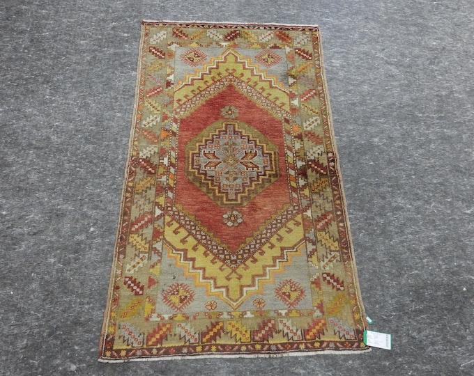 """Medallion Anatolia Rug, Turkish Red Rug, Yellow Rug, Brown Rug, Vintage handmade rug, 42"""" x 72"""""""