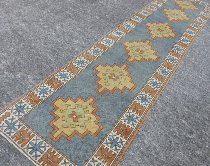 2'8'' x 10'4'' Anatolian Rug, Vintage Rug, Old Rug, Handmade Rug, Natural Rug, Wool Rug, Floor Rug,Turkish Rug, Blue, Orange, Runner Rug