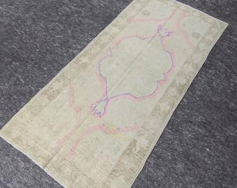2'7'' x 5'9'' Anatolian Rug, Vintage Rug, Old Rug, Handmade Rug, Natural Rug, Wool Rug, Floor Rug,Turkish Rug, Wash Rug, Area, Beige, Pink