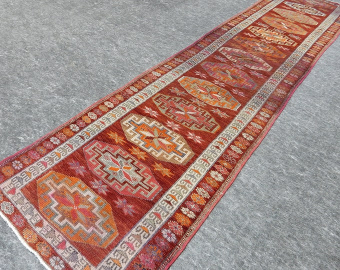 3'0'' x 12'4'' Anatolian Rug, Vintage Rug, Old Rug, Handmade Rug, Natural Rug, Wool Rug, Floor Rug,Turkish Rug, Red, Beige, Herki, Runner
