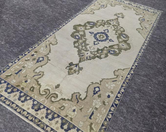 4'1'' x 9'4'' Anatolian Rug, Vintage Rug, Old Rug, Handmade Rug, Natural Rug, Wool Rug, Floor Rug,Turkish Rug, Gallery Size Rug, Beige, Blue