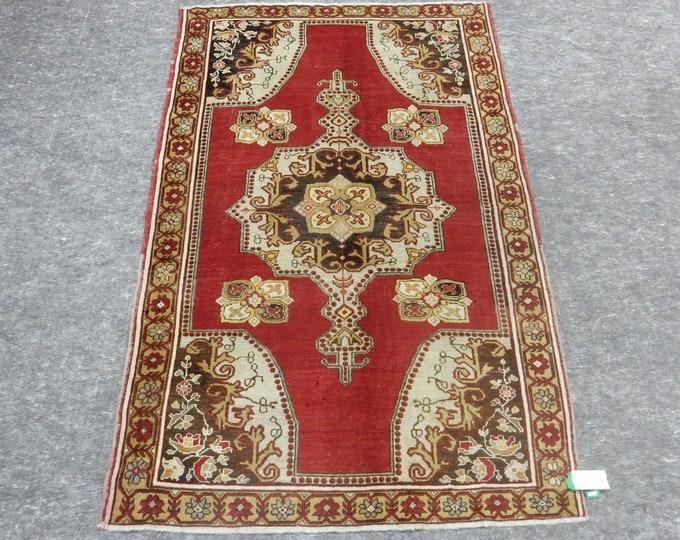 """Medallion Anatolia Rug, Turkish Red rug, Beige Rug, Vintage handmade rug, 54"""" x 84"""""""