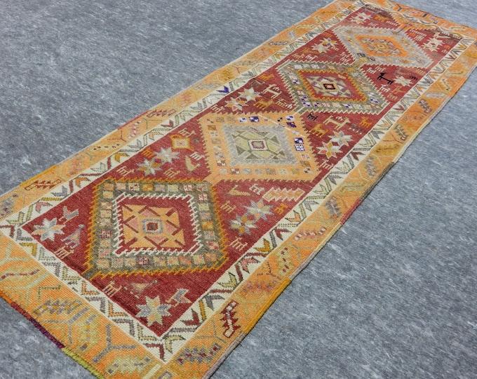 2'11'' x 8'9'' Anatolian Rug, Vintage Rug, Old Rug, Handmade Rug, Natural Rug, Wool Rug, Floor Rug,Turkish Rug, Red Rug, Orange Rug, Runner