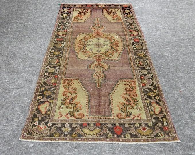 4'1'' x 7'9'' Anatolian Rug, Vintage Rug, Old Rug, Handmade Rug, Natural Rug, Wool Rug, Floor Rug,Turkish Rug, Gallery Size Rug, beige Rug