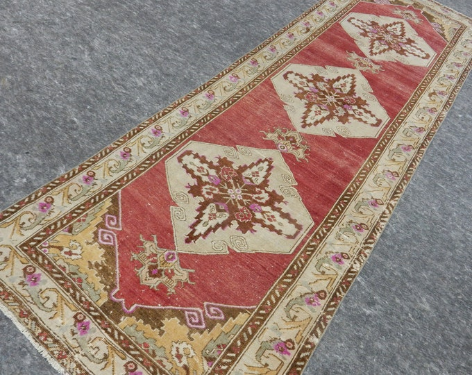 3'3'' x 10'2'' Anatolian Rug, Vintage Rug, Old Rug, Handmade Rug, Natural Rug, Wool Rug, Floor Rug,Turkish Rug, Runner Rug, Red, Beige