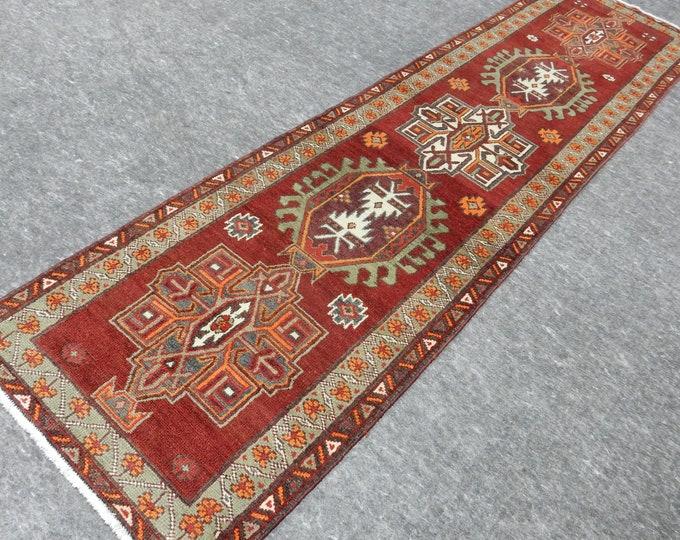 3'2'' x 12'1'' Anatolian Rug, Vintage Rug, Old Rug, Handmade Rug, Natural Rug, Wool Rug, Floor Rug,Turkish Rug, Red Rug, Runner Rug, Orange