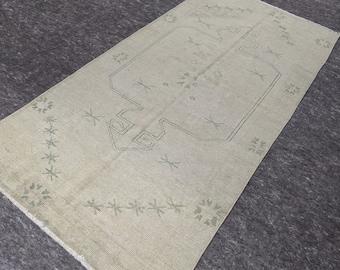 3'9'' x 7'8'' Anatolian Rug, Vintage Rug, Old Rug, Handmade Rug, Natural Rug, Wool Rug, Floor Rug,Turkish Rug, Area Rug, Wash, Beige,Green