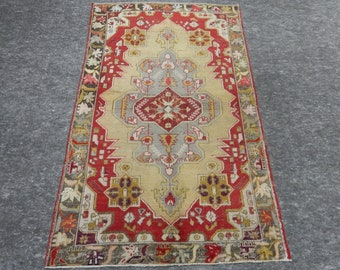"Room Size, Anatolia Rug, Turkish Red Rug, Beige Rug, Vintage handmade rug, Flower Design, Distressed rug, 54"" x 93"""