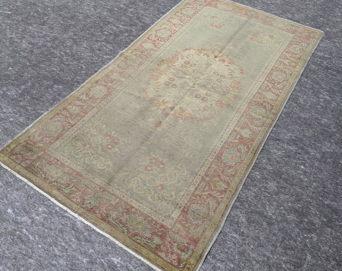 3'6'' x 6'10'' Anatolian Rug, Vintage Rug, Old Rug, Handmade Rug, Natural Rug, Wool Rug, Floor Rug,Turkish Rug, Area Rug, Red,Blue
