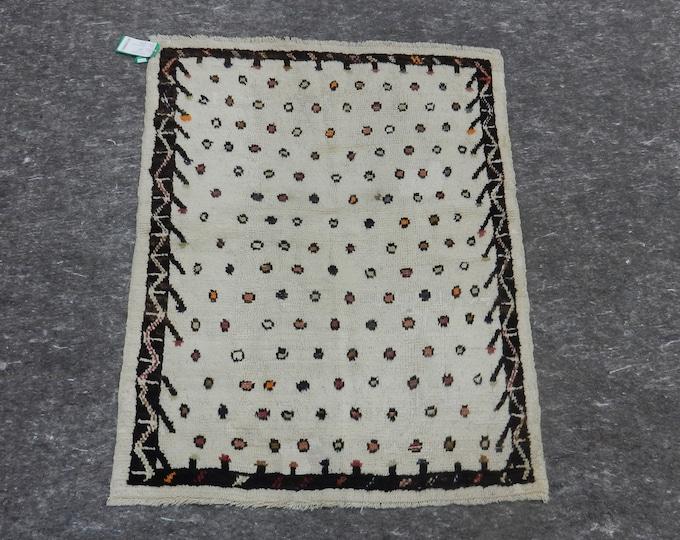 3'5'' x 4'3'' Anatolian Rug, Vintage Rug, Old Rug, Handmade Rug, Natural Rug, Wool Rug, Floor Rug,Turkish Rug, White, Gray, Distressed Rug