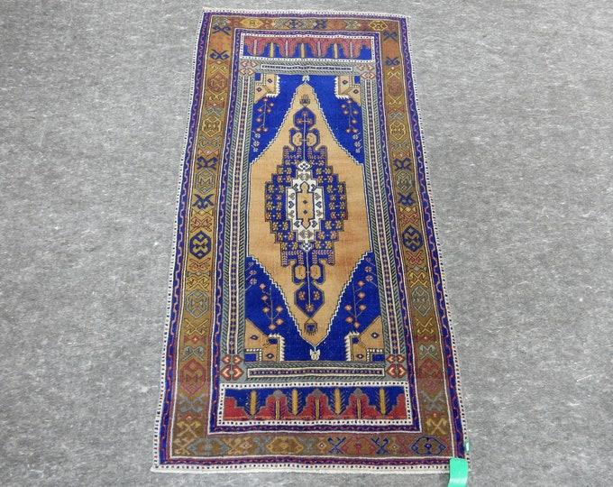 """Medallion Anatolia Rug, Turkish Blue rug, Orange Rug, Vintage handmade rug, 42"""" x 84"""""""