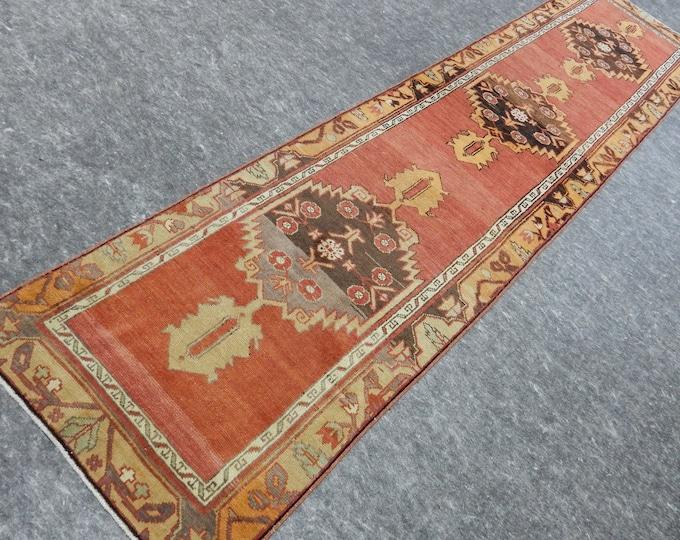 2'9'' x 11'10'' Anatolian Rug, Vintage Rug, Old Rug, Handmade Rug, Natural Rug, Wool Rug, Floor Rug,Turkish Rug, Red, Orange, Runner Rug