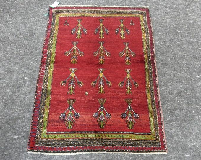 "Small Size, Anatolia Rug, Turkish Red rug, Green Rug, Vintage handmade rug, Flower Design, Distressed rug, 48"" x 64"""