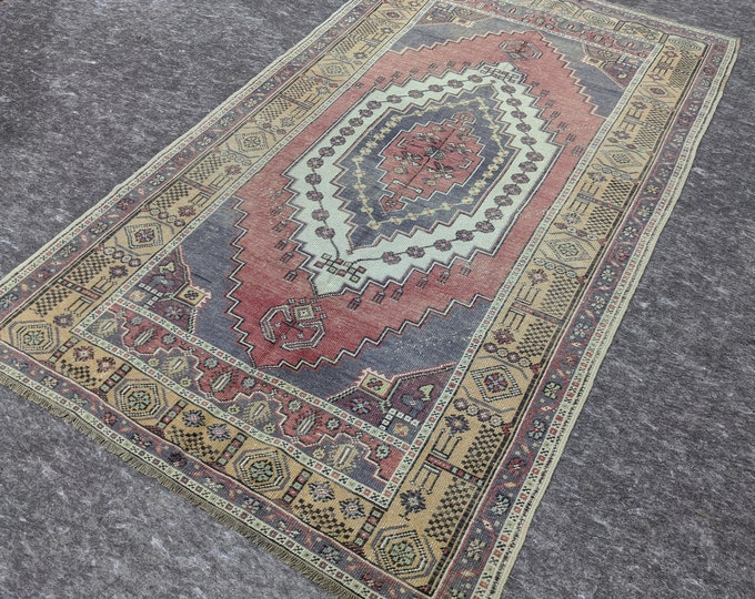4'3'' x 7'5'' Anatolian Rug, Vintage Rug, Old Rug, Handmade Rug, Natural Rug, Wool Rug, Floor Rug,Turkish Rug, Gallery Size, Blue, Red,Beige