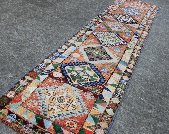 2'7'' x 9'9'' Anatolian Rug, Vintage Rug, Old Rug, Handmade Rug, Natural Rug, Wool Rug, Floor Rug,Turkish Rug, Red, Beige, Runner Rug
