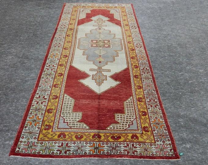 5'2'' x 11'10'' Anatolian Rug, Vintage Rug, Old Rug, Handmade Rug, Natural Rug, Wool Rug, Floor Rug,Turkish Rug, Red Rug, Gallery Size Rug