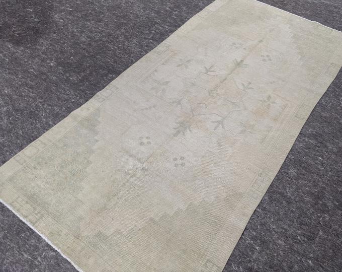 4'0'' x 8'6'' Anatolian Rug, Vintage Rug, Old Rug, Handmade Rug, Natural Rug, Wool Rug, Floor Rug,Turkish Rug, Wash Rug, Area, Beige, Green