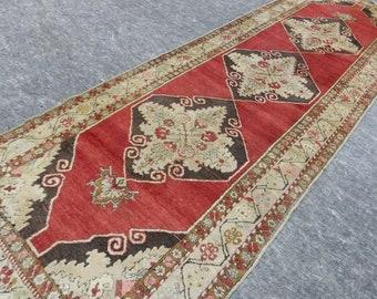 3'6'' x 11'3'' Anatolian Rug, Vintage Rug, Old Rug, Handmade Rug, Natural Rug, Wool Rug, Floor Rug,Turkish Rug, Red, Beige, Herki, Runner