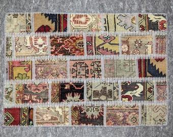 2' x 3' Anatolian Rug, Vintage Rug, Handmade Rug, Natural Rug, Wool Rug, Turkish Rug, Patchwork Rug, Small Rug, Multi Color