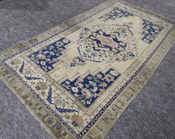 4'10'' x 8'5'' Anatolian Rug, Vintage Rug, Old Rug, Handmade Rug, Natural Rug, Wool Rug, Floor Rug,Turkish Rug, Area Rug, Beige,Blue