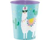 16 oz Plastic Llama Cup, Llama Party, Llama Decor, Llama Birthday, Llama Baby Shower, Alpaca Party, Fiesta Party, Llama Themed, Cactus Cup