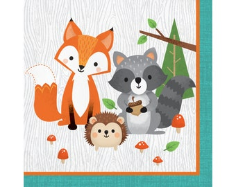 50 Hedgehog Raccoon Fox Woodland Animal Napkins for Baby Shower Party MW21851