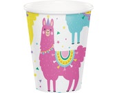 Llama Cups, Llama Party Cups, Llama Decor, Llama Birthday, Llama Baby Shower, Alpaca Party, Fiesta Party, Llama Themed, Cactus Party Cups