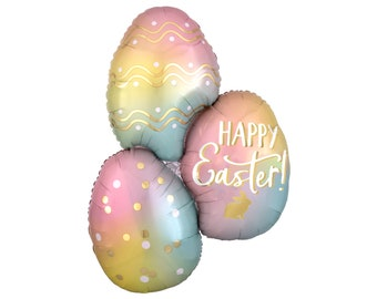 spring colors pastels Easter egg pink happy Easter balloon holidays spring party decorations polka dots colored egg decorated