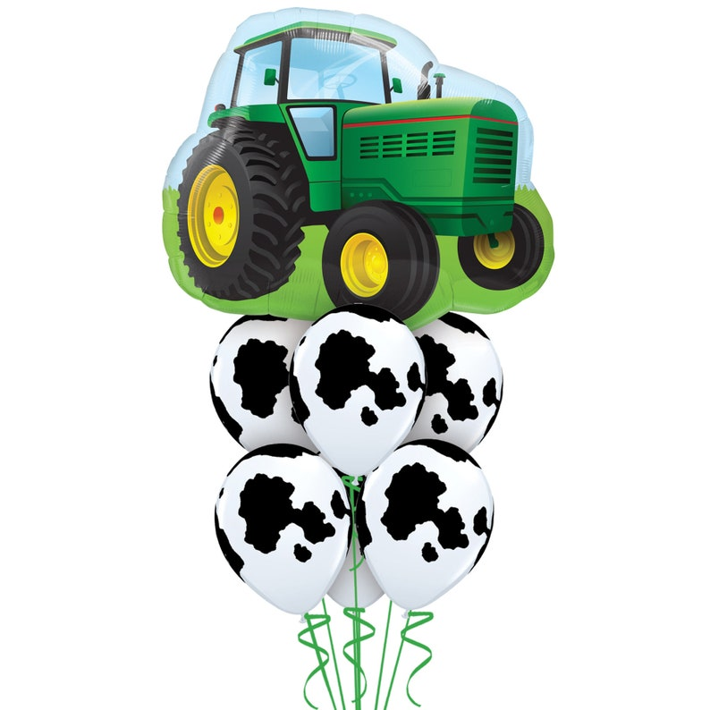 Cow Party Farm Animal Balloon 34 Tractor and Six 11 Balloon Bouquet Foil Mylar Latex Black and White Barnyard Balloon Tractor Party
