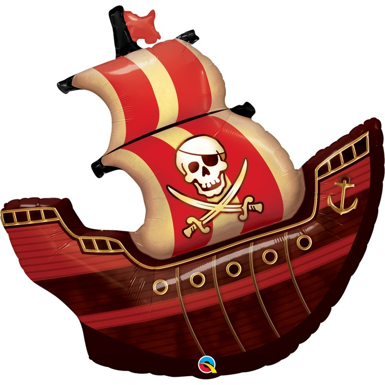 Jolly Roger Pirate Treasure 40 Pirate Ship Balloon Foil Mylar Skull and Crossbones Pirate Birthday Pirate Party Theme Pirate Balloon