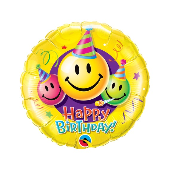 18 Happy Birthday Smiley Faces Balloon Foil Mylar Etsy