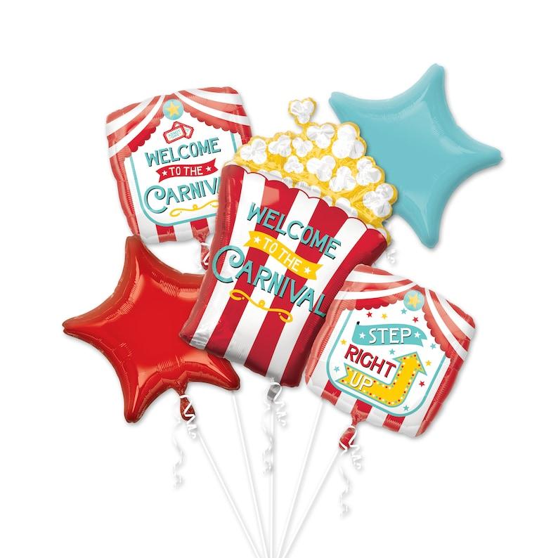 29 Carnival Popcorn Bouquet Balloons Birthday Party Decor Carnival Balloon Carnival Party Decorations Night Out Balloon Circus Balloon