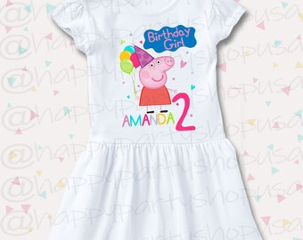 1860279bf455 PEPPA PIG Ruffle Dress, Peppa pig Dress, Peppa Pig Birthday Dress, Peppa  Pig Dress, Birthday Girl