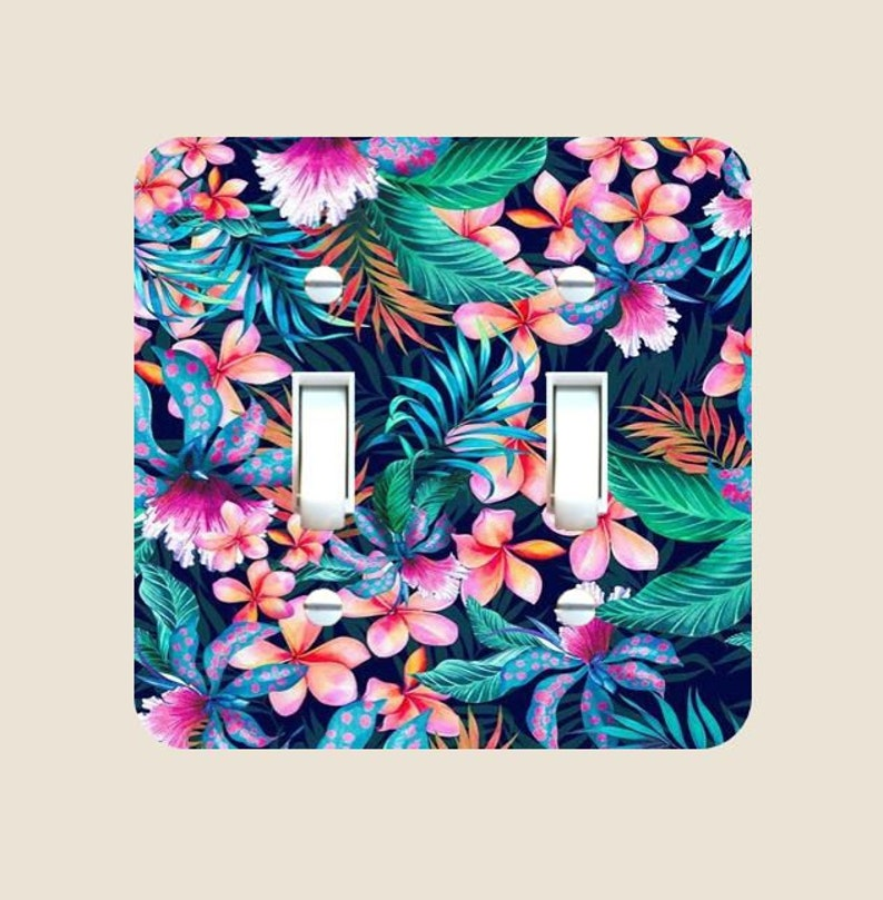 Tropical Floral Light Switch Cover - Single Toggle - Rocker - Switch Plates  - Bedroom and Bathroom Décor - Home & Living - Seaside and Ocean