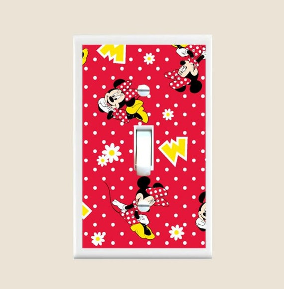 VINTAGE MICKEY MOUSE MINNIE BLACK WHITE DOUBLE Light Switch Plate Cover