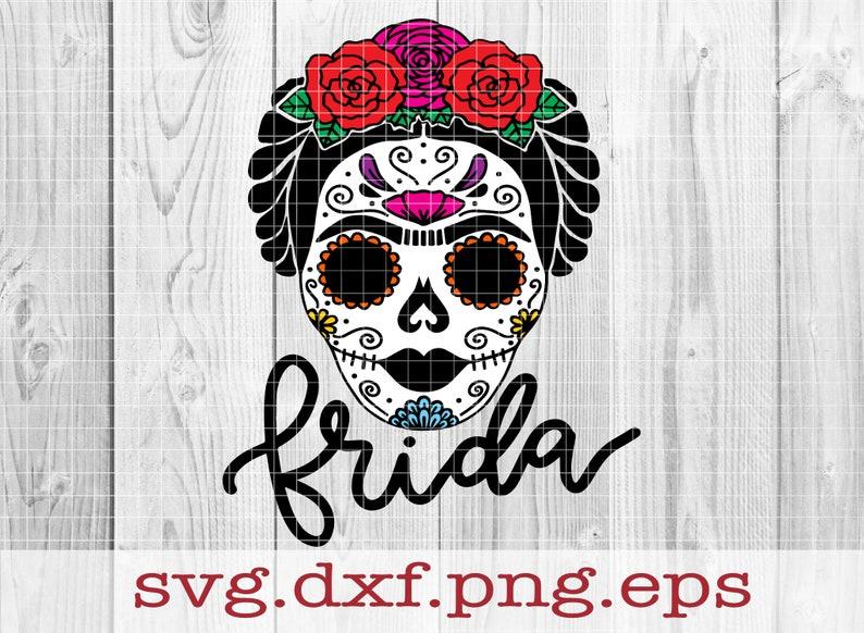 Sugar Frida Layered SVG Hand Drawn SVG Sugar Skull SVG image 0