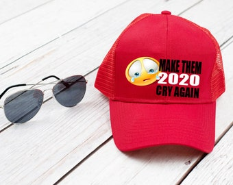 Trump Trucker Hat make them cry again political funny unisex hat red  baseball cap 2020 election d9d0ceda61c