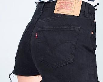 81460f60 BLACK Vintage Levi's 501 High Waisted Frayed Denim Cut Off Shorts | ALL  SIZES