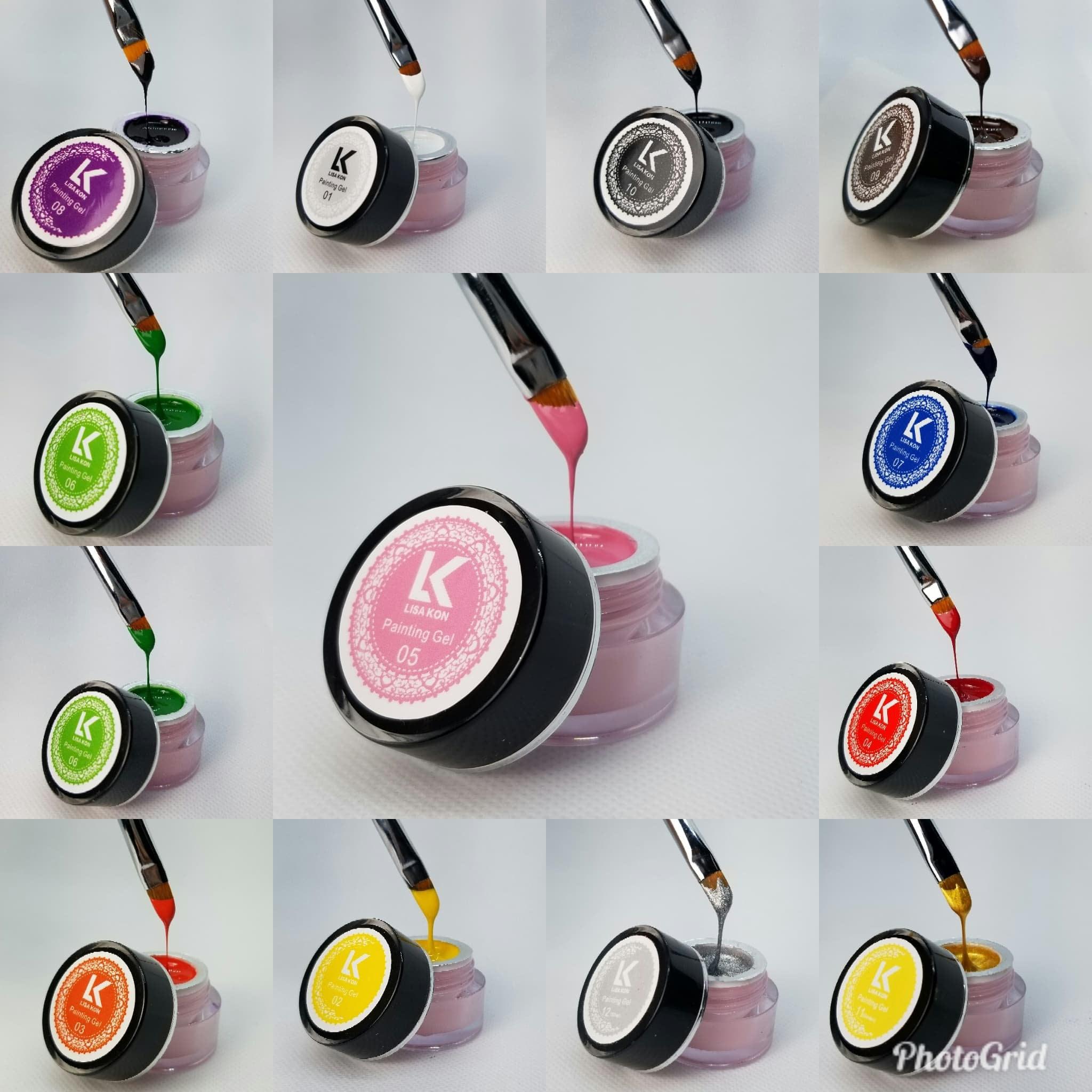 Painting nail art gel Lisa Kon 8ml 12 colors art brushes