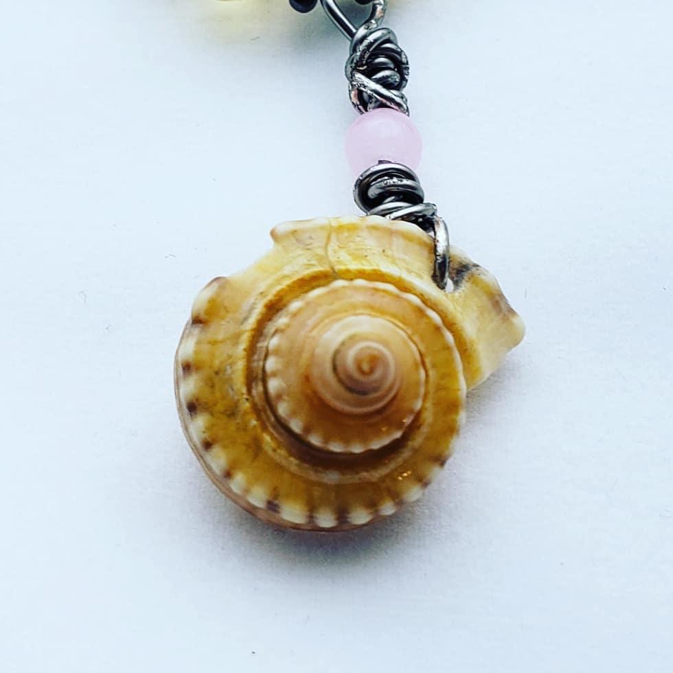 Seashell Pendant Summer necklace Boho aesthetic Seashell Necklace Wire Wrapped Pendant