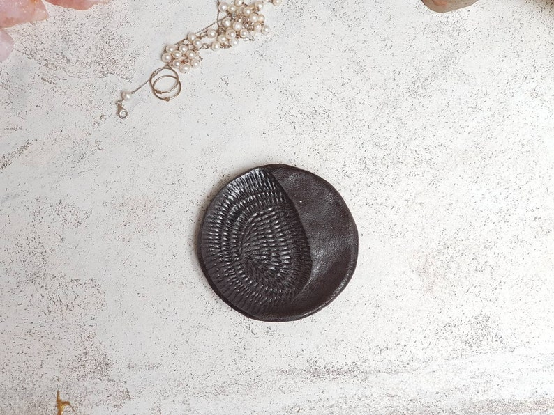 La Luna  Crescent moon jewellery dish in a vulcanic black clay