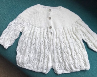 Vintage Style Hand Knitted Baby Cardigan