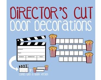 Directors Cut Door Decoration Printable Cinema Clapper Movie Film Strip Popcorn Dec RA Name Tags