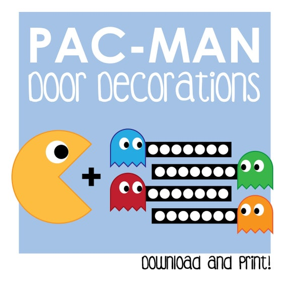 fascinating Pac Man Door Decoration Part - 17: Pac-Man Door Decoration - Printable - Arcade Games - Door Dec | Etsy