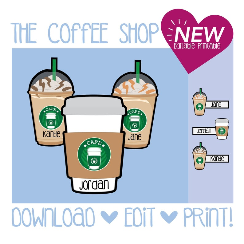 picture about Starbucks Printable Application identify The Espresso Retail store Doorway Decoration / Starbucks / Printable / Espresso / Frappe / frappuccino / Doorway Dec / RA /Resident Assistant / Standing Tags