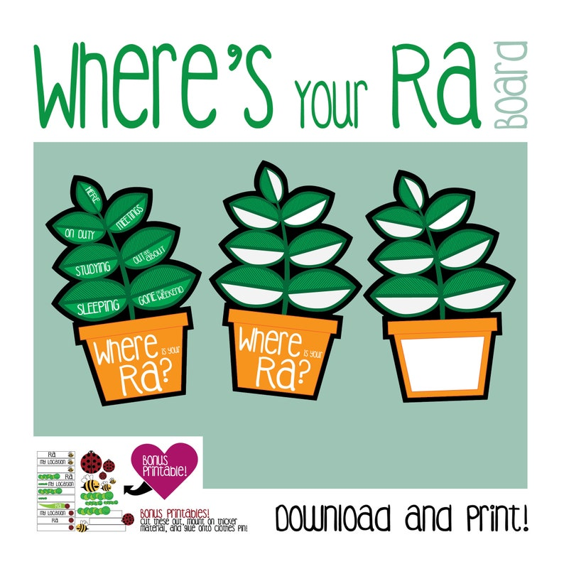 graphic regarding Printable Door Tags identify Potted Plant RA Board / Printable / Upon Obligation Board / Exactly where am I? / Wheres your RA? / Doorway Dec / RA /Resident Assistant / Track record Tags