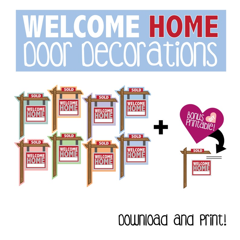 graphic about Printable Door Decs named Welcome House Doorway Decoration / Printable / Household / Signal / Doorway Dec / RA /Resident Assistant / House Lifestyle / Reslife / Popularity Tags
