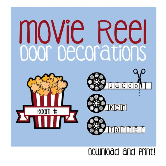 photograph regarding Printable Door Decorations known as Video Reel Doorway Decoration / Printable / Cinema / Popcorn