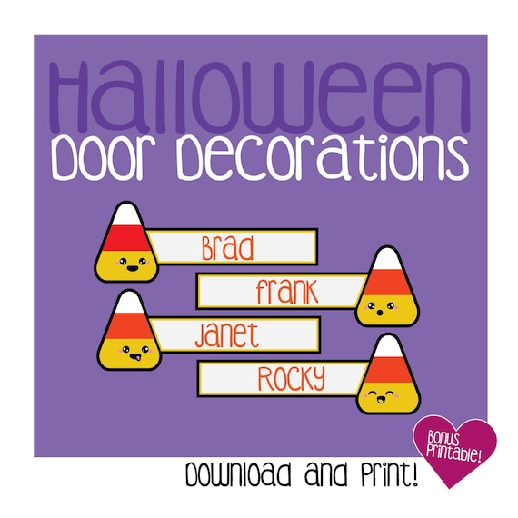 photograph regarding Printable Door Decorations known as Halloween Doorway Decoration / Printable / Sweet / Sweet Corn / Pumpkin / Adorable / Emoji Faces / RA / Resident Assistant / Instructor / Track record Tags