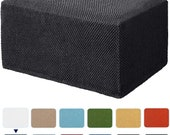 Subrtex Stretch Jacquard Storage Jacquard Ottoman Slipcover Spandex Elastic Footstool Sofa Cover for Living Room